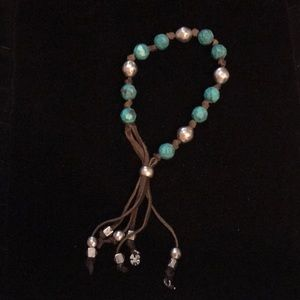 Lucky leather beaded bracelet